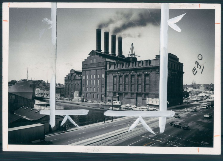 """fortress-like inner harbor sentinel can't cope with modern demands,"" read the caption for this 1974 photo of the Pratt street power station, once operated by Baltimore Gas and Electric. (Baltimore Sun archives)"