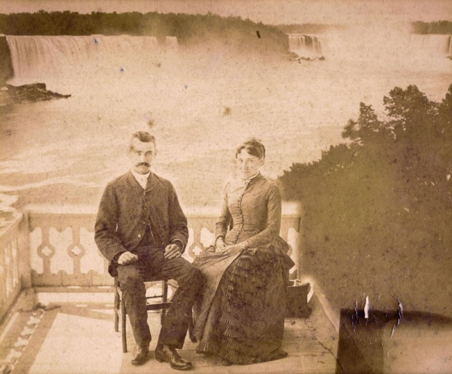 Wedding portrait of Charles T. Neepier and Lydia Pamela Baker Neepier on a wedding trip to Niagara Falls in 1885 or 1886. Part of the Neepier family photos. (Photo from the Baltimore Historical Society via Enoch Pratt Library)