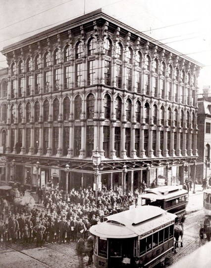 """""""The Sun Iron Building"""" is pictured on the southeast corner of Baltimore and South streets in 1939."""