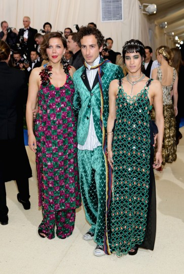 """NEW YORK, NY - MAY 01: (L-R) Maggie Gyllenhaal, Francesco Risso and Sofia Boutella attend the """"Rei Kawakubo/Comme des Garcons: Art Of The In-Between"""" Costume Institute Gala at Metropolitan Museum of Art on May 1, 2017 in New York City. (Photo by Neilson Barnard/Getty Images)"""