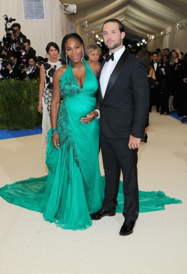 """NEW YORK, NY - MAY 01: Serena Williams (L) and Alexis Ohanian attend the """"Rei Kawakubo/Comme des Garcons: Art Of The In-Between"""" Costume Institute Gala at Metropolitan Museum of Art on May 1, 2017 in New York City. (Photo by Neilson Barnard/Getty Images)"""