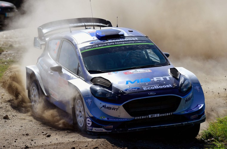 Estonian driver and co-driver, Ott Tanak and Raigo Molder, steer their Ford Fiesta WRC in Viana do Castelo, northern Portugal, on May 19, 2017, during the first stage on the second day of the Portugal WRC rally. (Miguel Riopa/AFP/Getty Images)