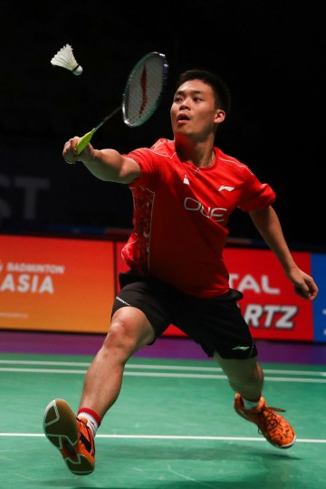 Terry Hee Yong Kai of Singapore hits a return during the men's doubles Sudirman Cup match with partner Danny Bawa Chrisnanta (not pictured) against Vietnam's Do Tuan Duc and Pham Hong Nam at the Gold Coast Sports Centre on May 26, 2017. (Patrick Hamilton/AFP/Getty Images)