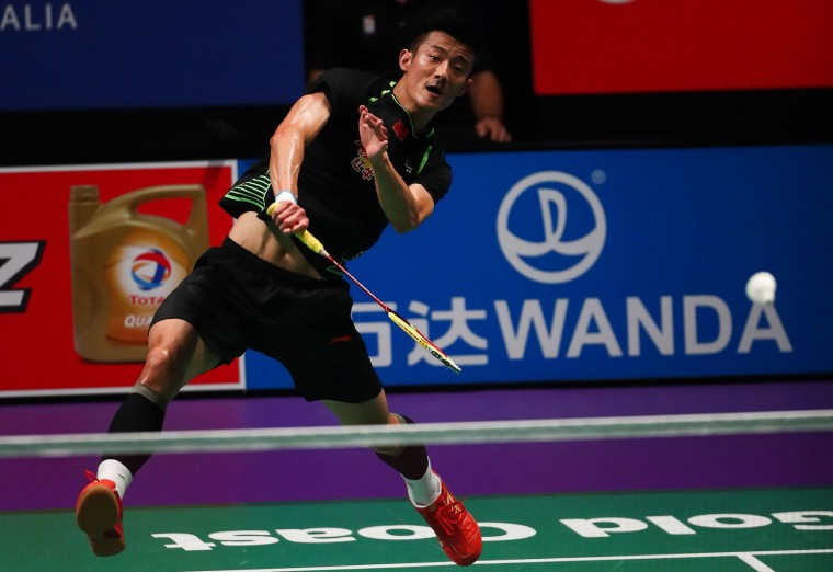 Chen Long of China hits a return during the men's singles Sudirman Cup match against India's Srikanth Kidambi at the Gold Coast Sports Centre on May 26, 2017. (Patrick Hamilton/AFP/Getty Images)