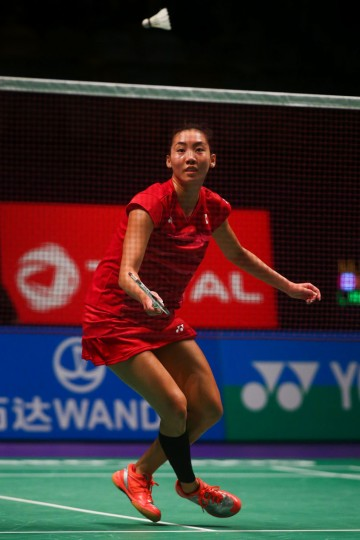 Michelle Li of Canada hits a return during the women's singles Sudirman Cup match against Wendy Chen Hsuan-Yu of Australia (not pictured) at the Gold Coast Sports Centre on May 26, 2017. (Patrick Hamilton/AFP/Getty Images)