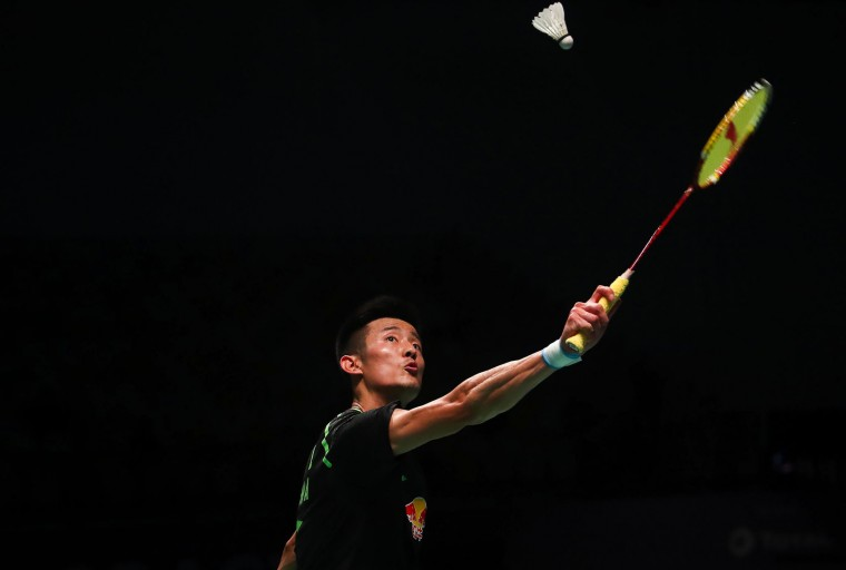 Chen Long of China hits a return against India's Srikanth Kidambi during their men's singles Sudirman Cup badminton match at the Gold Coast Sports Centre on May 26, 2017. (Patrick Hamilton/AFP/Getty Images)
