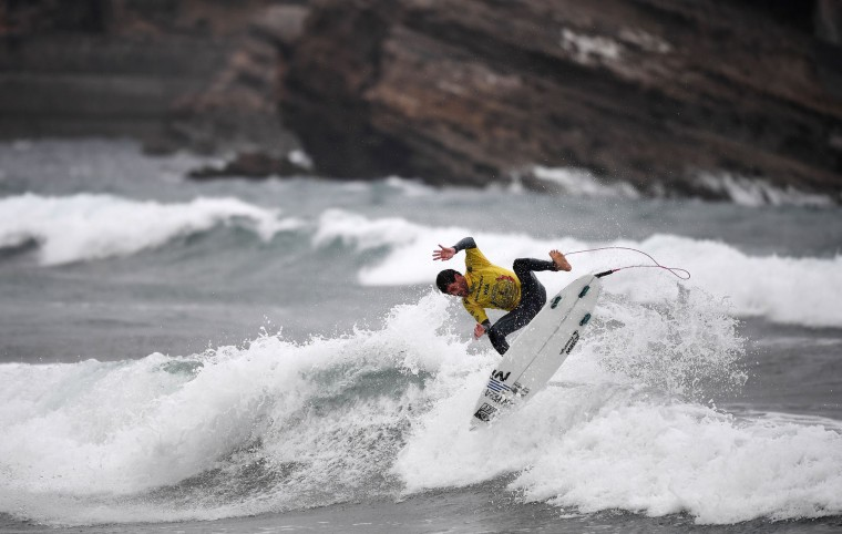 Uruguay's Sebastien Olarte competes during the heats 9 - Round 1 on May 22, 2017 in Biarritz, southwestern France, during the 2017 ISA World Surfing Games. The event, gathering athletes from over 40 countries, takes place until May 28. (Franck Fife/AFP/Getty Images)