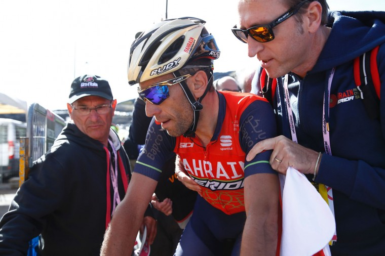 Italy's rider of team Bahrain - Merida Vincenzo Nibali is pictured after crossing the finish line of the 4th stage of the 100th Giro d'Italia, Tour of Italy, cycling race from Cefalu to Etna volcano, on May 9, 2017 in Sicily. Slovenian Jan Polanc of team UAE conquered the prestigious Giro d'Italia fourth stage to Mount Etna today as Luxembourg's Bob Jungels took the race leader's pink jersey. (Luk Benies/AFP/Getty Images)
