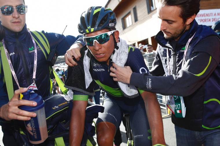 Colombia's Nairo Quintana of team Movistar is pictured after crossing the finish line of the 4th stage of the 100th Giro d'Italia, Tour of Italy, cycling race from Cefalu to Etna volcano, on May 9, 2017 in Sicily. Slovenian Jan Polanc of team UAE conquered the prestigious Giro d'Italia fourth stage to Mount Etna today as Luxembourg's Bob Jungels took the race leader's pink jersey. (Luk Benies/AFP/Getty Images)
