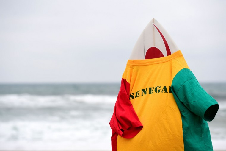 A Senegal shirt is set on a surfboard a start of the heats 10 - Round 1 on May 22, 2017 in Biarritz, southwestern France, during the 2017 ISA World Surfing Games. The event, gathering athletes from over 40 countries, takes place until May 28. (Franck Fife/AFP/Getty Images)