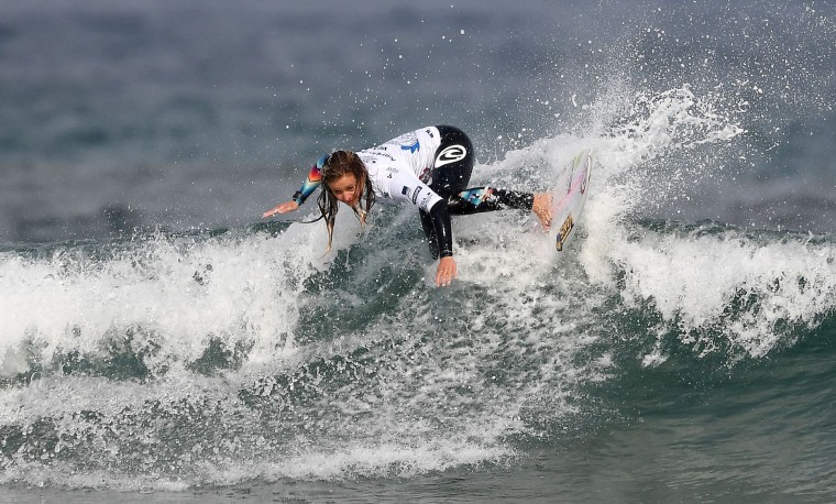 France's Pauline Ado competes the final of the 2017 ISA World Surfing Games on May 22, 2027 in Biarritz, southwestern France. France's Pauline Ado scored the best finish of the final on the Grande Plage Beach, ahead of France's Johanne Defay and Costa Rican Leilani McGonagle. (Franck Fife/AFP/Getty Images)