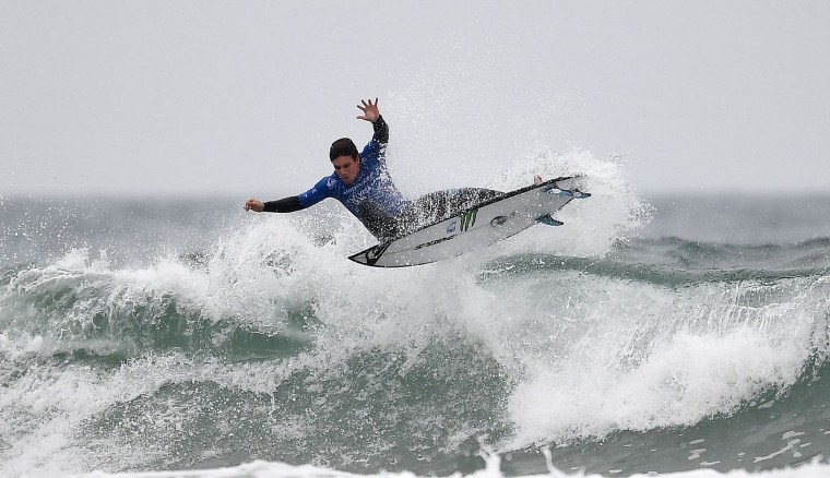 Spain's Luis Diaz competes in the heats 2 - Round 1 on May 23, 2017 in Biarritz, southwestern France, during the 2017 ISA World Surfing Games. (Franck Fife/AFP/Getty Images)