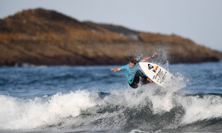 South Africa's Bianca Buitendag competes during the finals of the 2017 ISA World Surfing Games on May 22, 2027 in Biarritz, southwestern France. France's Pauline Ado scored the best finish of the final on the Grande Plage Beach, ahead of France's Johanne Defay and Costa Rican Leilani McGonagle. (Franck Fife/AFP/Getty Images)
