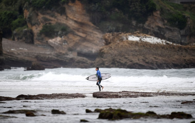 Spain's Luis Diaz reacts after competing in the heats 24 - Round 1 on May 23, 2017 in Biarritz, southwestern France, during the 2017 ISA World Surfing Games. (Franck Fife/AFP/Getty Images)
