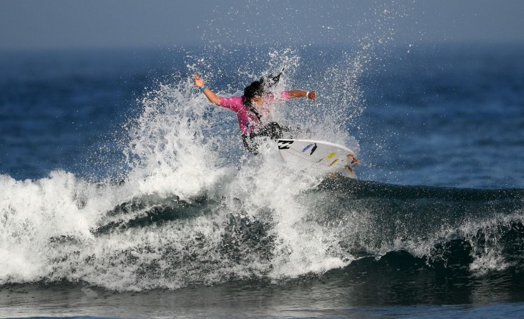 Portugal's Teresa Bonvalot competes the semi-final of the 2017 ISA World Surfing Games on May 22, 2027 in Biarritz, southwestern France. France's Pauline Ado scored the best finish of the final on the Grande Plage Beach, ahead of France's Johanne Defay and Costa Rican Leilani McGonagle. (Franck Fife/AFP/Getty Images)