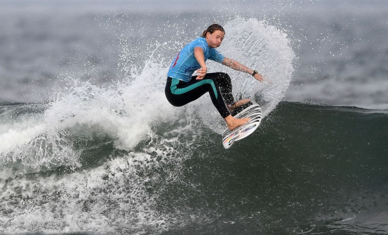 South Africa's Bianca Nuttendag competes the final of the 2017 ISA World Surfing Games on May 22, 2027 in Biarritz, southwestern France. France's Pauline Ado scored the best finish of the final on the Grande Plage Beach, ahead of France's Johanne Defay and Costa Rican Leilani McGonagle. (Franck Fife/AFP/Getty Images)