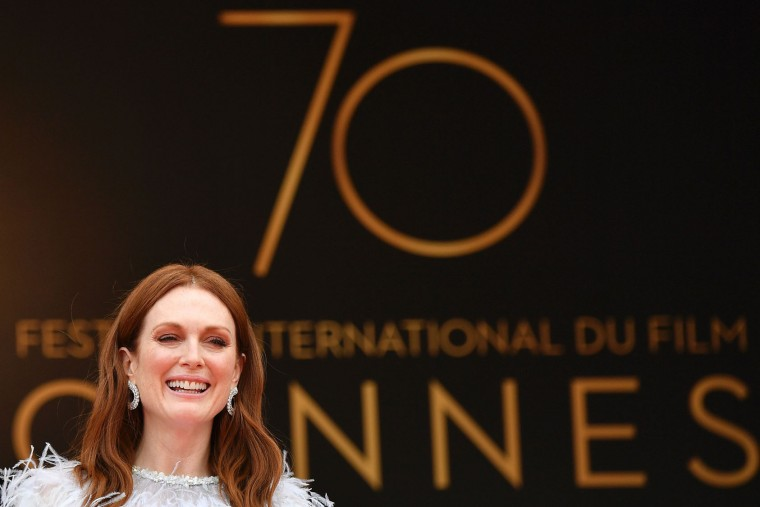 US actress Julianne Moore poses as she arrives on May 18, 2017 for the screening of the film 'Wonderstruck' at the 70th edition of the Cannes Film Festival in Cannes, southern France. (Alberto Pizzoli/AFP/Getty Images)