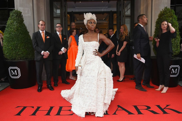 NEW YORK, NY - MAY 01: Cynthia Erivo leaves from The Mark Hotel for the 2017 'Rei Kawakubo/Comme des GarÁons: Art of the In-Between' Met Gala on May 1, 2017 in New York City. (Photo by Ben Gabbe/Getty Images for The Mark Hotel)