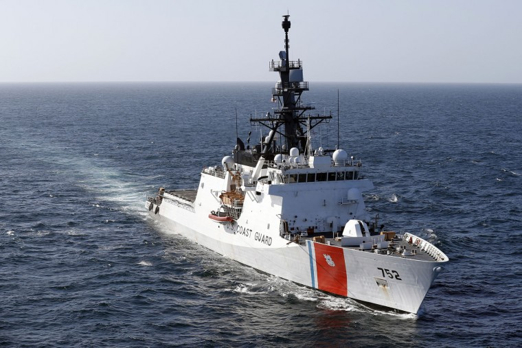 In this March 7, 2017 photo, the U.S. Coast Guard cutter Stratton steams through the eastern Pacific Ocean. The Stratton is one of the first US Coast Guard's national security cutters, the largest and most technologically advanced of the Coast Guard's new class of cutters. (AP Photo/Dario Lopez-Mills)