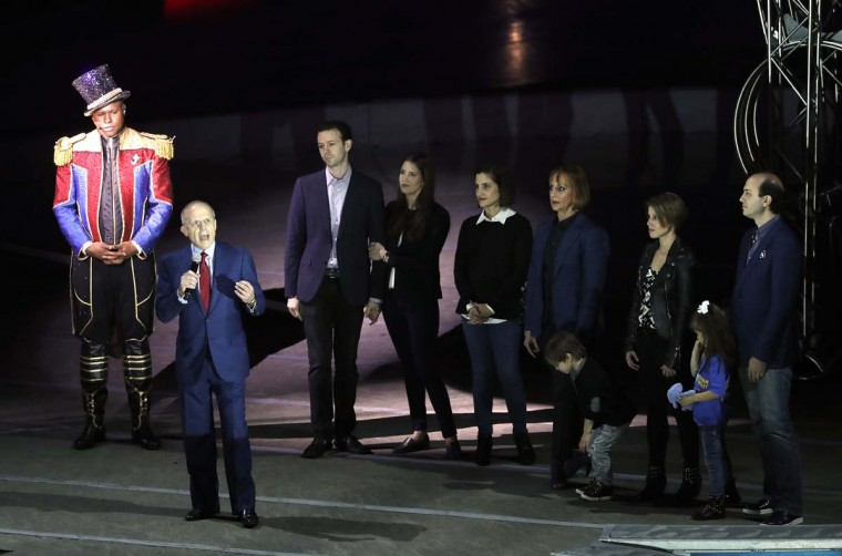 Kenneth Feld, CEO of Feld Entertainment, speaks before the start of the final show of the Ringling Bros. and Barnum & Bailey Circus, Sunday, May 21, 2017, in Uniondale, N.Y. (AP Photo/Julie Jacobson)