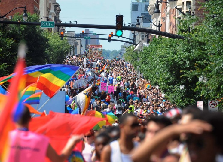 LGBTQ supporters march in the Baltimore Gay Pride parade on Charles street at Mount Vernon on June 15, 2013. (Photo by: Kenneth K. Lam/Baltimore Sun)