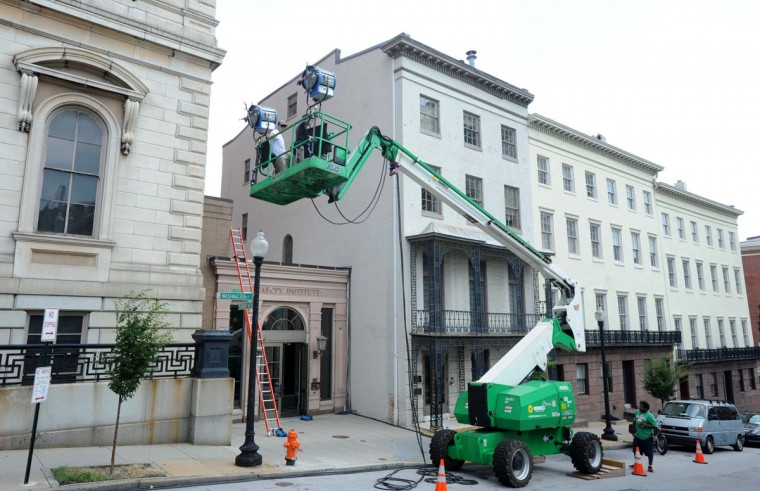 "The set-up crew for ""House of Cards"" sets up in Mt. Vernon on July 16, 2012. (Algerina Perna/Baltimore Sun)"