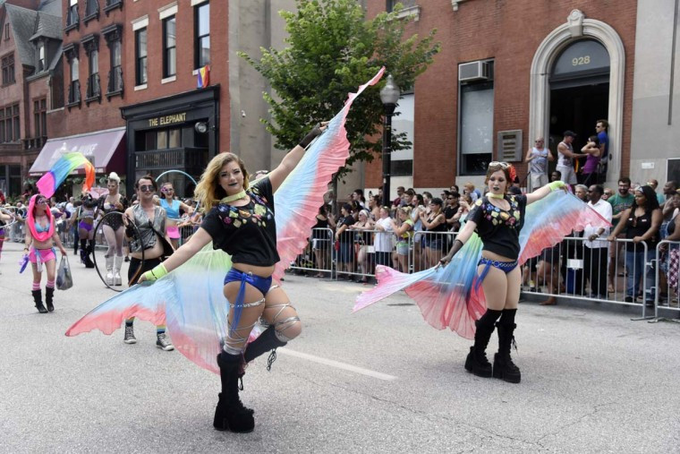 Members of Cosmos Crew march in the Baltimore Pride Parade. The Gay & Lesbian Community Center of Baltimore hosted Baltimore Pride 2016 in celebration of the LGBTQ community on July 23, 2016. (Kim Hairston/Baltimore Sun)