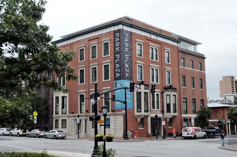 The Park Plaza building on the corner of Charles and Madison in Mount Vernon, which had a major fire in Dec. 2010, has been renovated. (Kim Hairston / The Baltimore Sun)