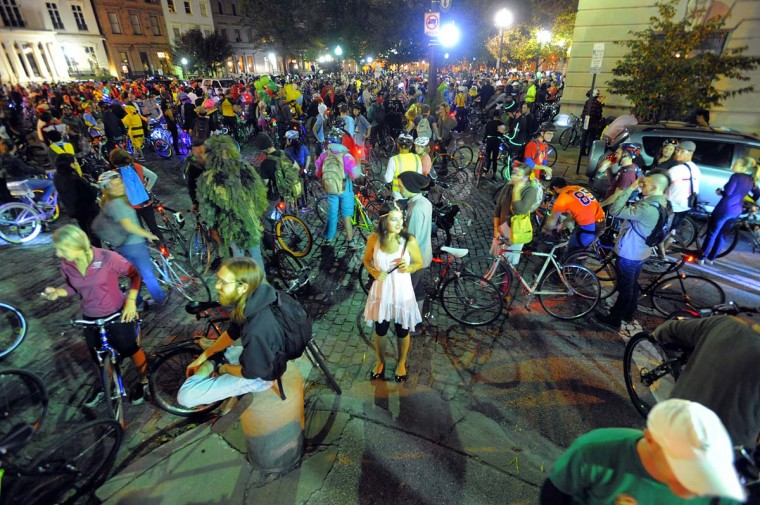 Cyclists participate in Bike Party Halloween Brew-ha-ha starting in Mount Vernon and ending in Hampden in 2012. (Photo by Jerry Jackson/Baltimore Sun staff)