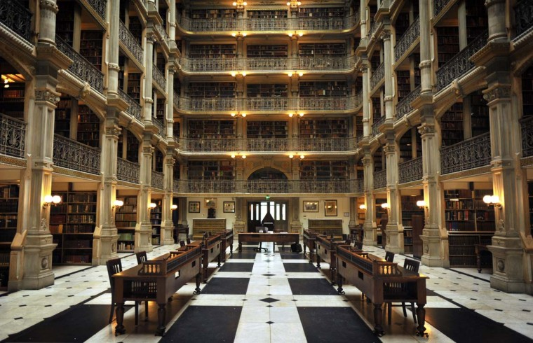The George Peabody Library is part of the Sheridan Libraries Special Collections of Johns Hopkins University. It is housed in the world-renowned Peabody Institute of Music facilities, located in Mount Vernon. (Baltimore Sun Staff photo by Robert K. Hamilton)