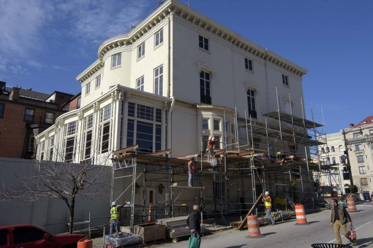 Work continues on the Hackerman House at 1 W. Mount Vernon Place on Nov. 15, 2016. (Algerina Perna/Baltimore Sun)