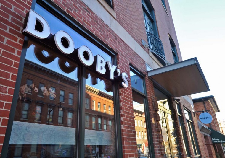 Entrance to Dooby's on North Charles Street, a Mount Vernon cafe serving specialty coffee drinks and breakfast, lunch and small plates for dinner with wine and craft beers, is pictured on Dec. 26, 2013. (Amy Davis / Baltimore Sun)