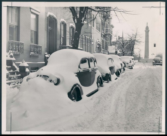 A snowy Mount Vernon is pictured on Feb. 21, 1947. (Baltimore Sun photo)