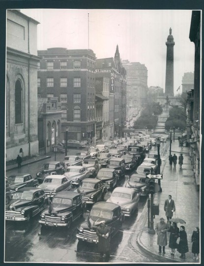 Traffic in Mount Vernon. is pictured during the Baltimore Transit Co. strike on January 22, 1952. (Baltimore Sun photo)
