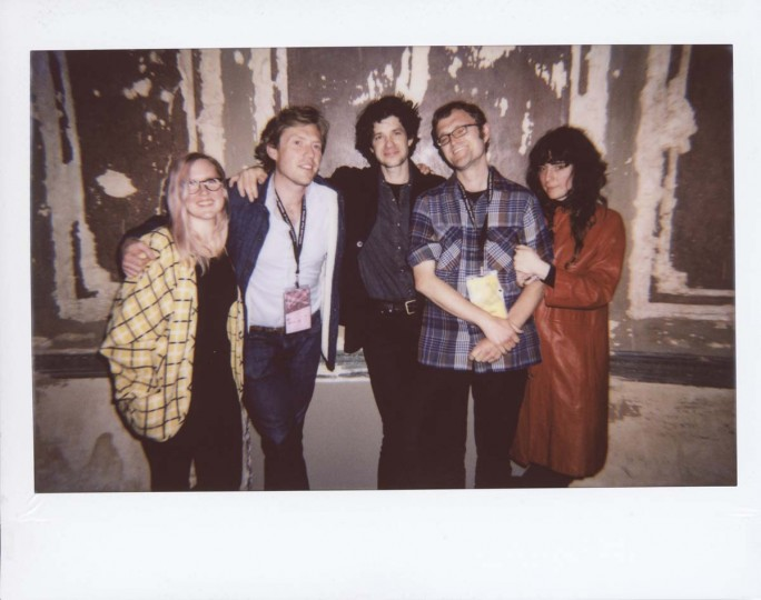 "Elena Johnston, Baltimore-based visual artist; Russell Hite, Baltimore-based visual artist; Alex Scally, member of Beach House; Eric Allen Hatch, MdFF director of programming; Victoria Legrand, member of Beach House after Beach House's introduction of a film they curated, ""Agnès Varda's Vagabond,"" which screened as the first 35mm print in the Parkway in the 21st century."