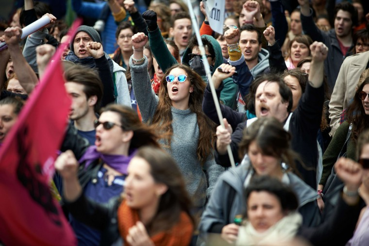 More than 10,000 people took to the streets for a May Day rally Monday, May 1, 2017 in Toulouse, France. This year, the May Day rally is happening between the two rounds of the French presidential election. (Alain Pitton/NurPhoto/Zuma Press/TNS)