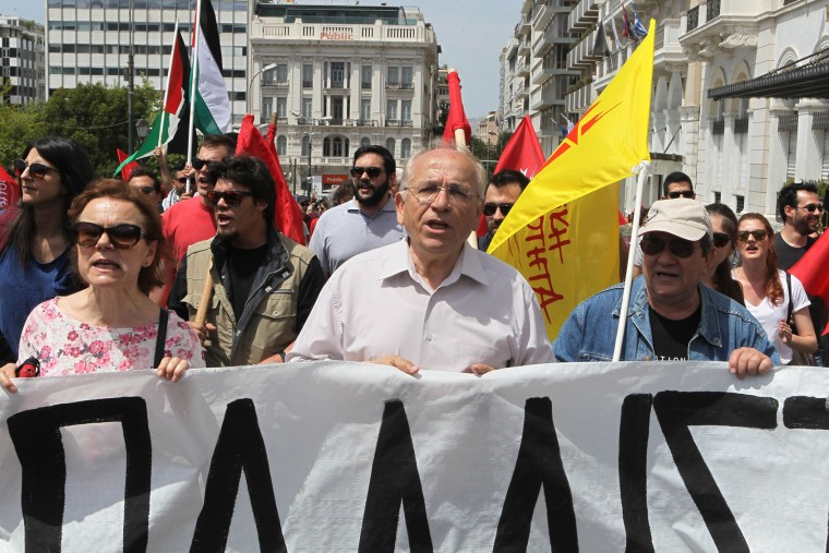 Protesters chant slogans as they take part in a May Day rally outside the Greek parliament on May 1, 2017 in Athens, Greece. (Aristidis Vafeiadakis/Zuma Press/TNS)