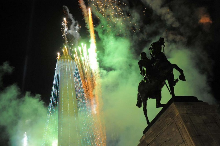 Mount Vernon Place celebrates the 39th annual lighting of the Washington Monument on Dec. 2, 2010. (Gabe Dinsmoor/Baltimore Sun)