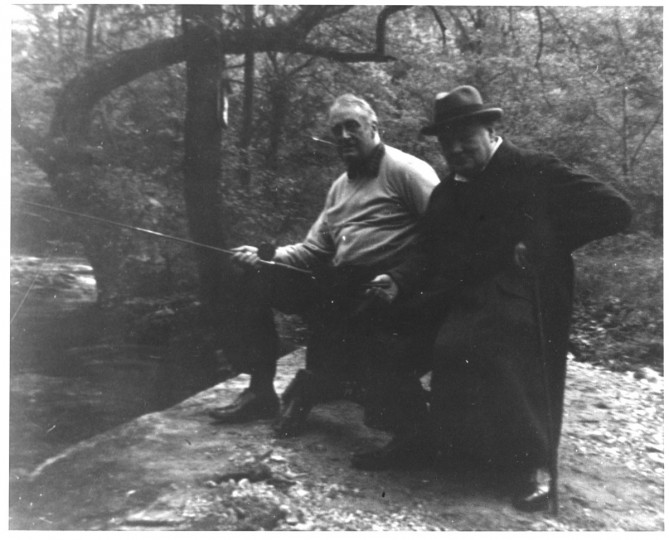 "According to David Eisenhower's book ""The President is at Camp David,"" Franklin Roosevelt sent Winston Churchill several photographs, including the one above, and included a letter apologizing that the pictures ""did not turn out very well, but at least it proves that you and I tried to catch a fish. Better luck next time."" Courtesy Franklin D. Roosevelt Presidential Library and Museum"