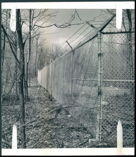 Fence at Catoctin Recreational Area in Thurmont, Maryland, home to Camp David, the presidential retreat. Photo dated April 19, 1959 (Baltimore Sun archives)