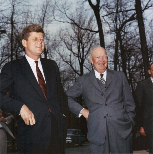 A file picture dated 22 April 1961 shows US President John F. Kennedy greet former President General Dwight D. Eisenhower (R) at Camp David, Maryland, USA. They met in the aftermath of the failed Bay of Pigs invasion of Cuba. (EPA/ROBERT KNUDSEN / Office of the Naval Aide to the President)