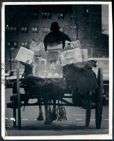 Man and horse carrying ice in Highlandtown, photo dated April 14, 1970. (Baltimore Sun)