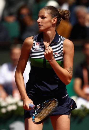 Karolina Pliskova of The Czech Republic celebrates victory following the ladies singles quarter finals match against Caroline Garcia of France on day eleven of the 2017 French Open at Roland Garros on June 7, 2017 in Paris, France. (Photo by Julian Finney/Getty Images)