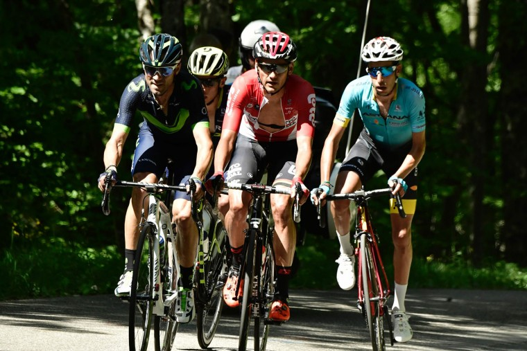 (From L - front row) Spain's Alejandro Valverde, Spain's Rafael Valls and Italy's Fabio Aru ride in a breakaway during the 147,5 km sixth stage of the 69th edition of the Criterium du Dauphine cycling race on June 9, 2017 between Villars-les-Dombes and La Motte-Servolex. (Philippe Lopze/AFP/Getty Images)