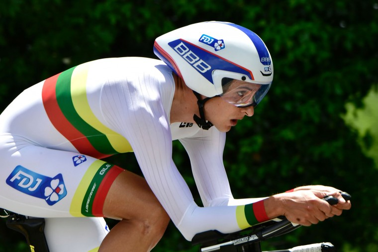 Lithuania's Ignatas Konovalovas rides during an 23,5 km individual time-trial, the fourth stage of the 69th edition of the Criterium du Dauphine cycling race on June 7, 2017 between La Tour-du-Pin and Bourgoin-Jallieu. (Philippe Lopze/AFP/Getty Images)