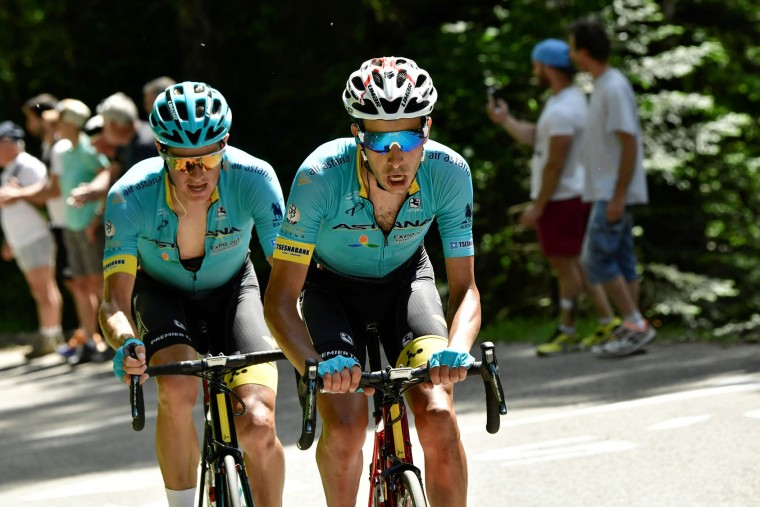 Denmark's Jakob Diemer Fuglsang (L) and his teammates Italy's Fabio Aru ride in a breakaway during the 147,5 km sixth stage of the 69th edition of the Criterium du Dauphine cycling race on June 9, 2017 between Villars-les-Dombes and La Motte-Servolex. (Philippe Lopze/AFP/Getty Images)