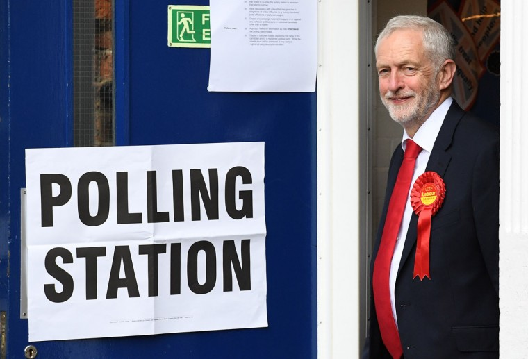 LONDON, ENGLAND - JUNE 08: Labour party leader Jeremy Corbyn casts his vote at a polling station at Pakeman Primary School on June 8, 2017 in London, England. Polling stations have opened as the nation votes to decide the next UK government in a general election. (Photo by Leon Neal/Getty Images)