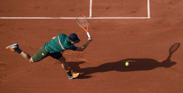 Japan's Kei Nishikori fails to return the ball to Britain's Andy Murray during their tennis match at the Roland Garros 2017 French Open on June 7, 2017 in Paris. (Gabriel Bouys/AFP/Getty Images)