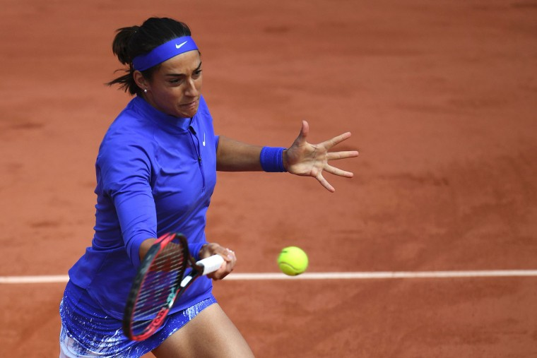 France's Caroline Garcia returns the ball to Czech Republic's Karolina Pliskova during their tennis match at the Roland Garros 2017 French Open on June 7, 2017 in Paris. (Francois Xavier Marit/AFP/Getty Images)