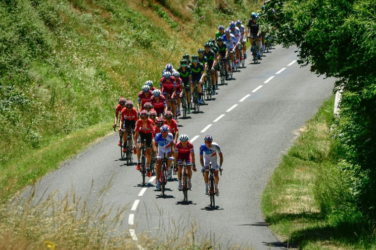 The pack rides during the 175,5 km fifth stage of the 69th edition of the Criterium du Dauphine cycling race on June 8, 2017 between La Tour-de-Salvagny and Macon. (Philippe Lopze/AFP/Getty Images)